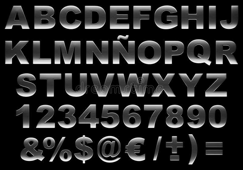 3d escovou o alfabeto de aço isolado ilustração stock