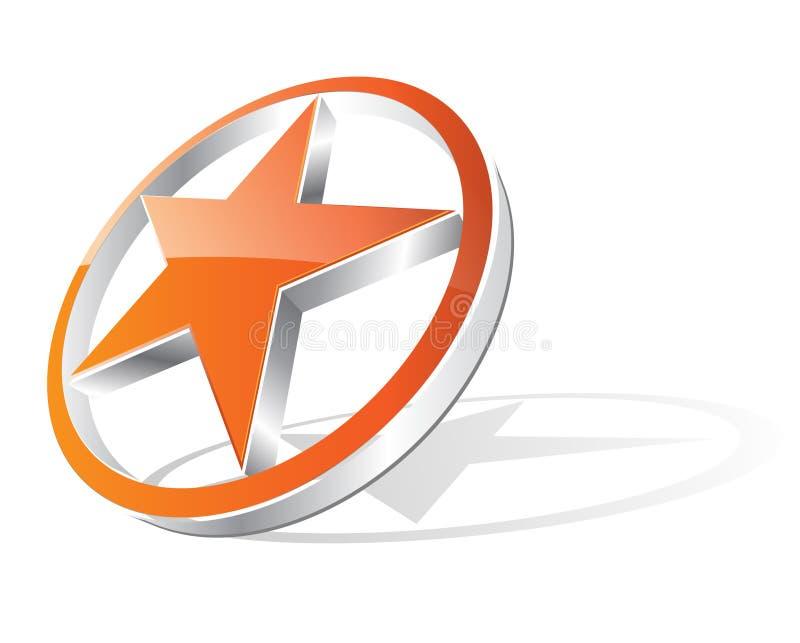 3d estrela alaranjada - logotipo ilustração do vetor