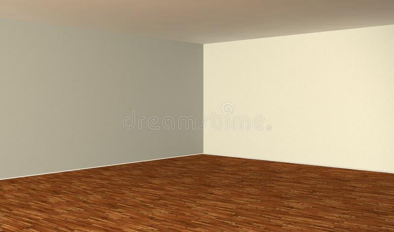 3d esvaziam o interior com parquet de madeira ilustração stock