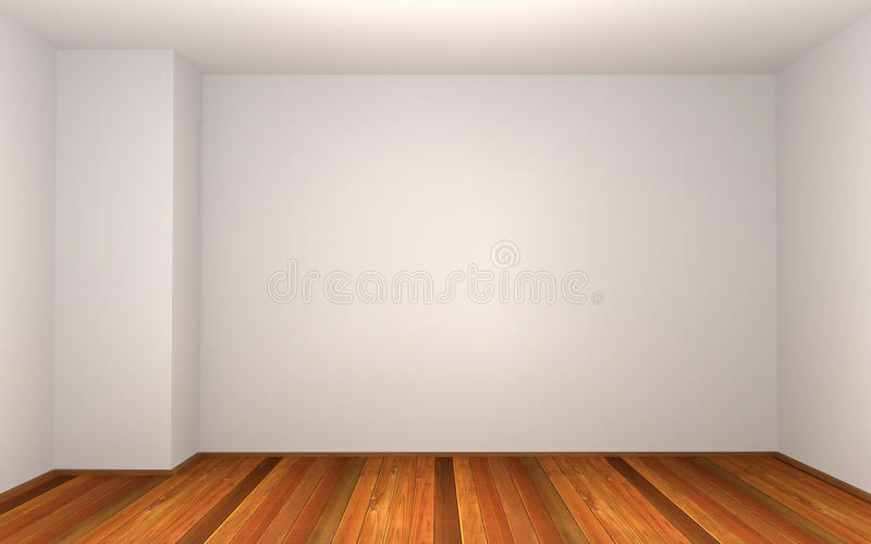 3d esvaziam o quarto com parede branca ilustração do vetor