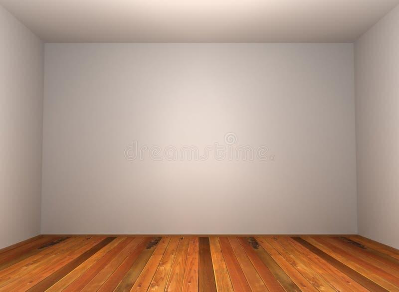 3d esvaziam o quarto com parquet de madeira ilustração royalty free