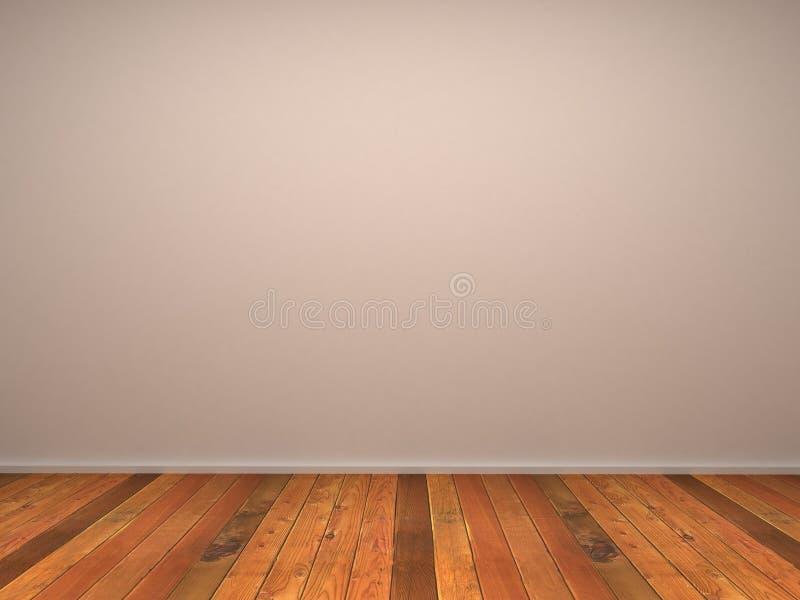 3d esvaziam a parede do quarto com parquet de madeira ilustração do vetor