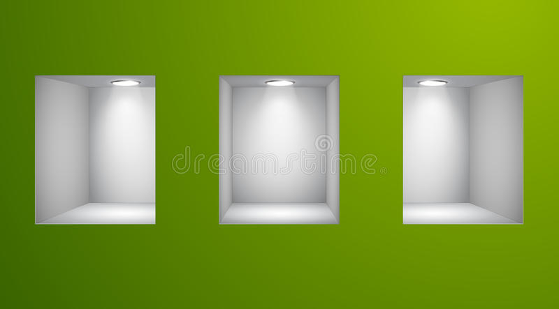 3d esvaziam prateleiras para a exibição na parede ilustração do vetor