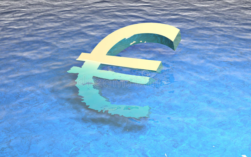 3d euro drowning in water royalty free stock photography