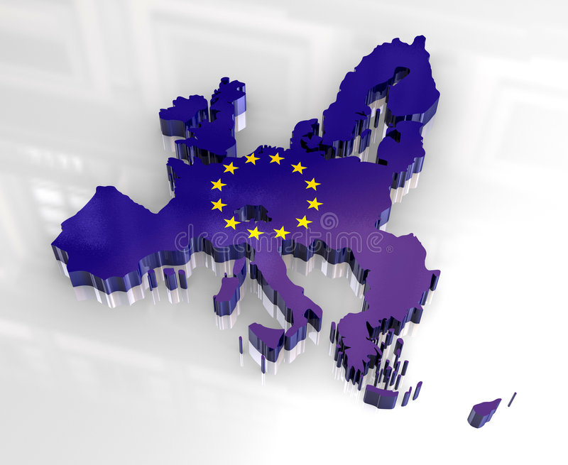 3d europejczyka flaga mapy zjednoczenie royalty ilustracja