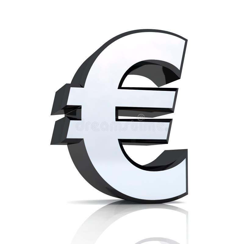 3D Eurosymbol - silbernes Schwarzes lizenzfreie abbildung