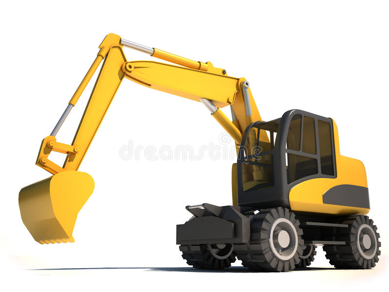 3d excavator. Over the white royalty free illustration