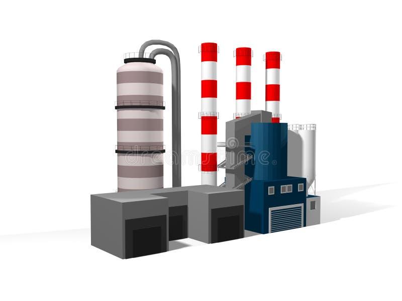 3D fábrica, planta ilustración del vector