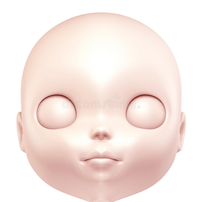 3D face of doll royalty free illustration