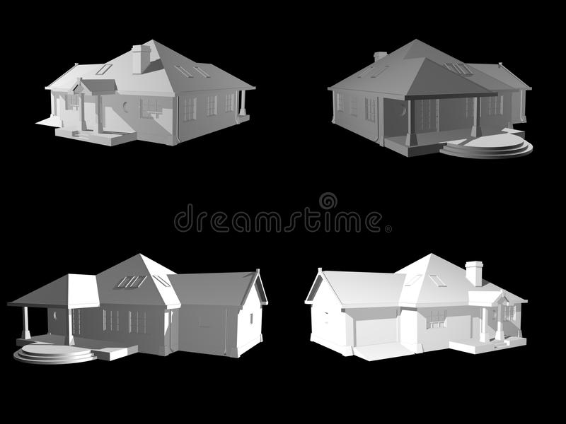 3d Face House Project Isolated On Black Stock Image