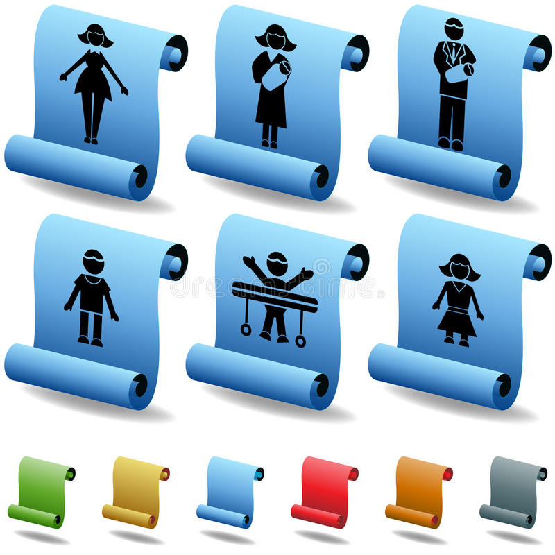 Download 3D Family Scroll Buttons stock vector. Image of entire - 9395457