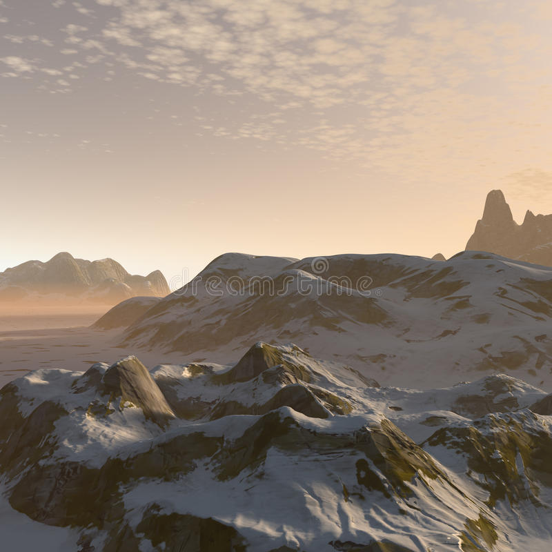 3D fantasy winter mountains landscape stock illustration