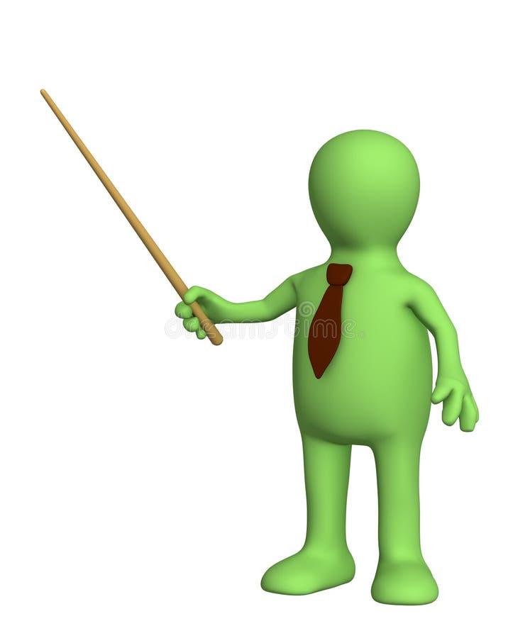 3d fantoche - homem de negócios em um laço com picareta ilustração do vetor