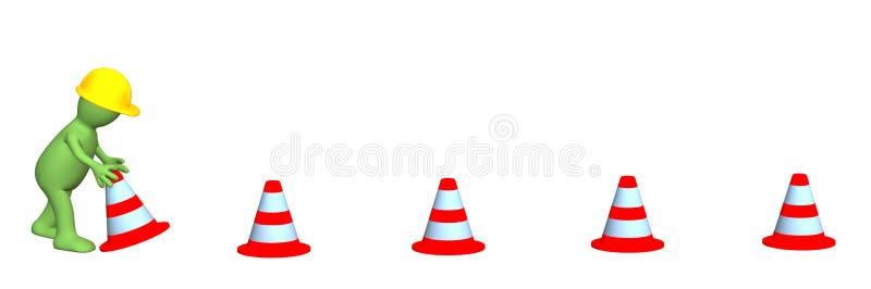 3d fantoche - trabalho, instalando cones da emergência ilustração stock