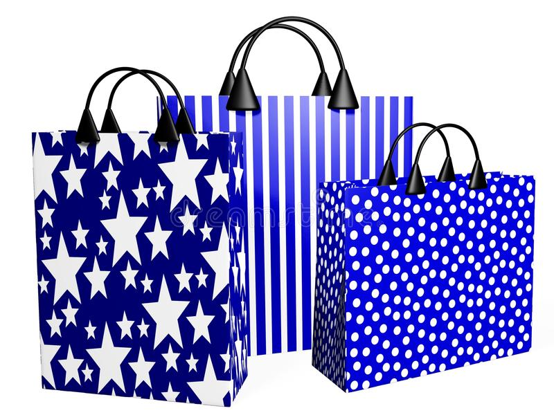 3D Festive Blue Shopping Bags. Three 3D shopping bags in festive blue prints royalty free illustration