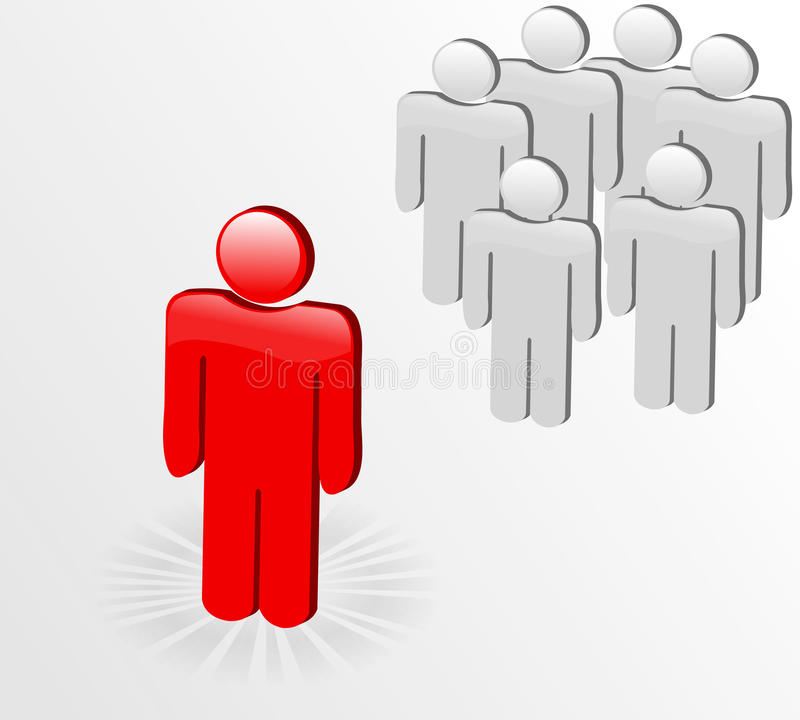 3D figure standing out from the crowd. Business concept: Standing out from the crowd vector illustration