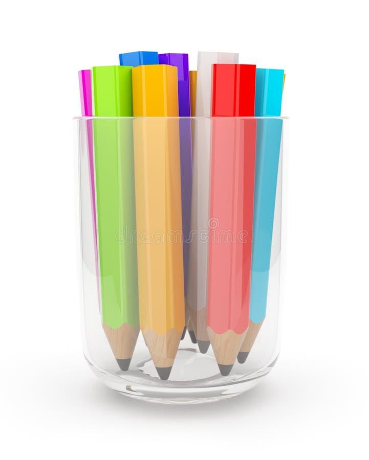 3d filiżanki kolorowy szkło wiele ołówki ilustracji