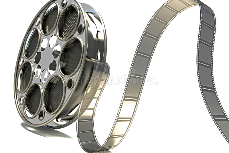3d Film Reel. Image of film reel rendered in 3d against white background vector illustration