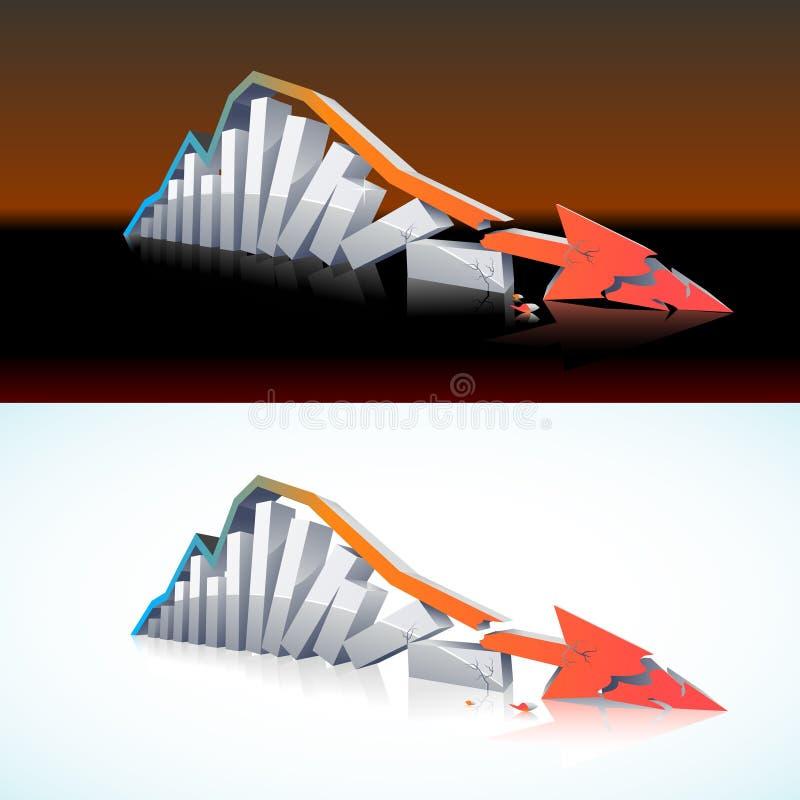 Download 3D financial meltdown stock vector. Image of broken, loss - 16085113
