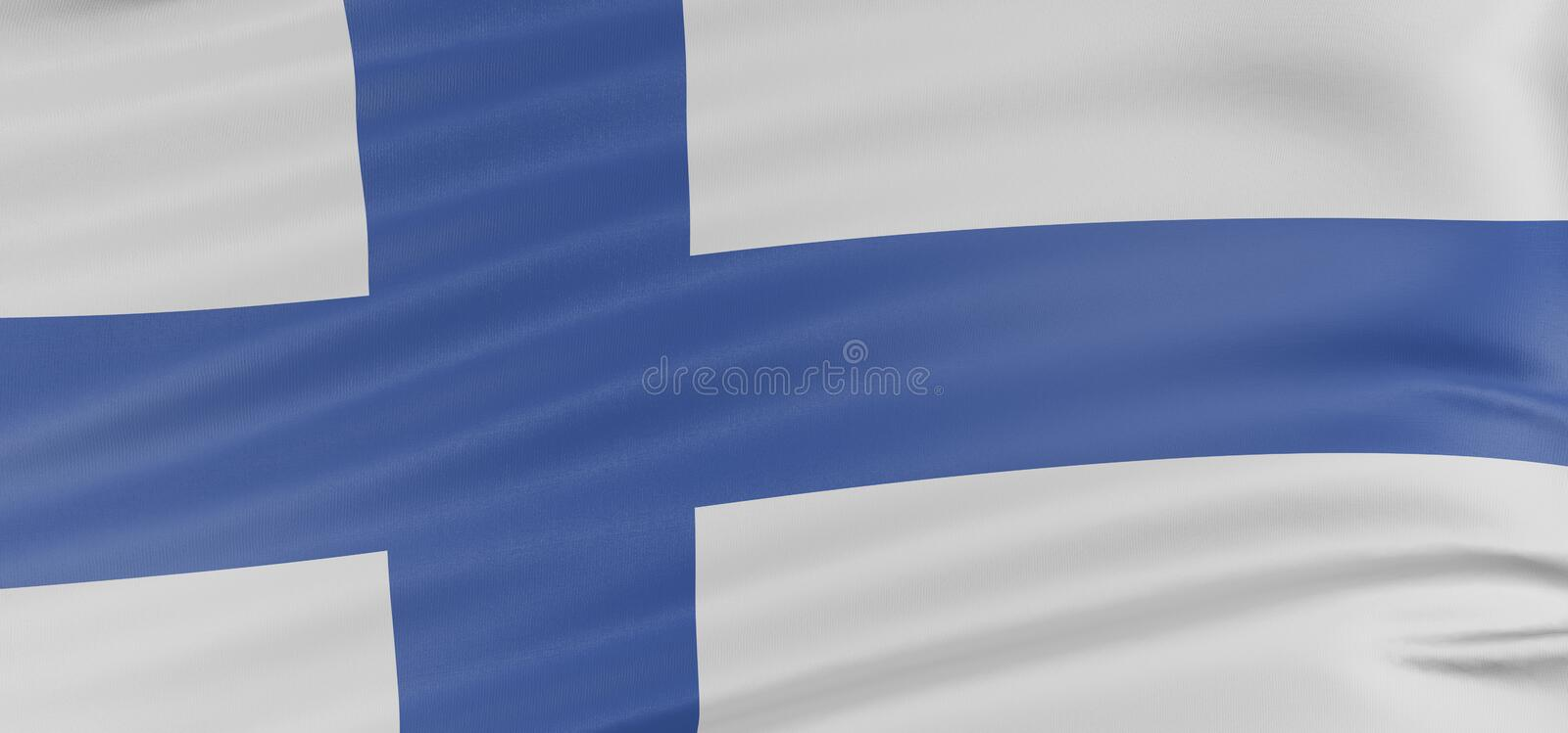 3D Finnish flag vector illustration
