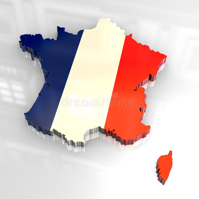 3d flad France mapa ilustracja wektor