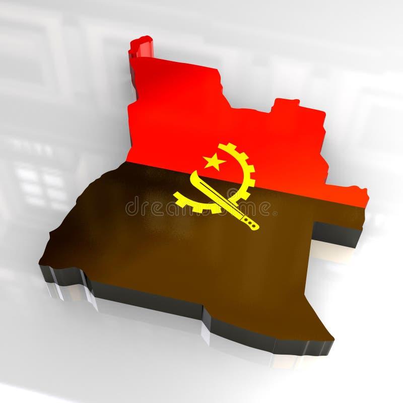 3d flag map of angola royalty free illustration