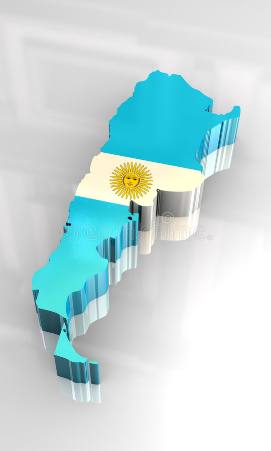 3d flag map of Argentina royalty free illustration