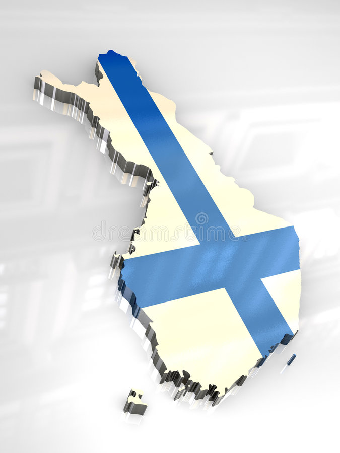 3d flag map of Finland stock illustration