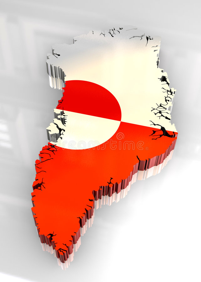 3d flag map of greenland stock photography