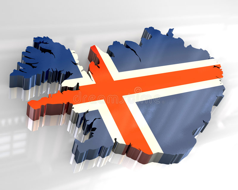 3d flag map of Iceland stock illustration