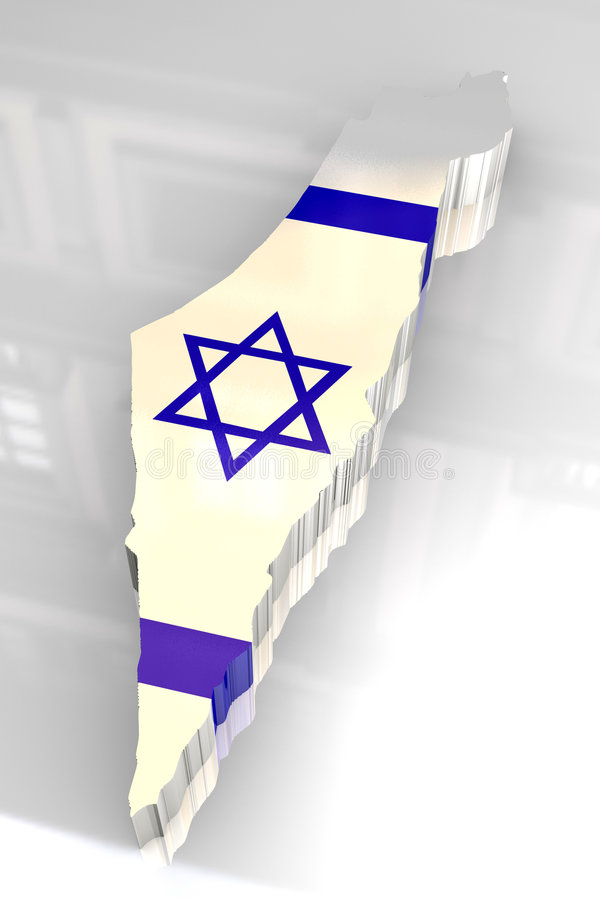 3d flag map of Israel royalty free illustration