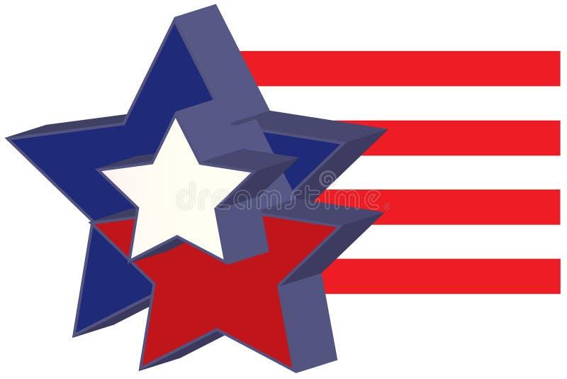 3d flaga amerykańskich gwiazdy ilustracji