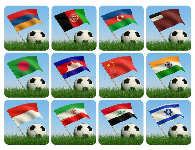 3d flaga azjatykcia balowa trawa ilustracja wektor