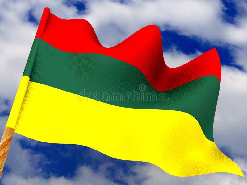 3d flagga lithuania royaltyfri illustrationer