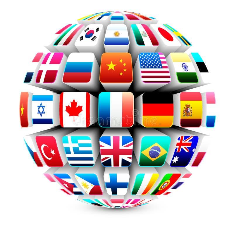 3d flags spherevärlden royaltyfri illustrationer