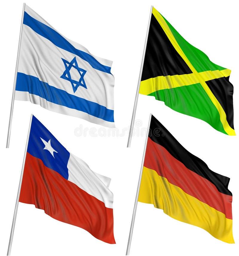 3d flags världen royaltyfri illustrationer