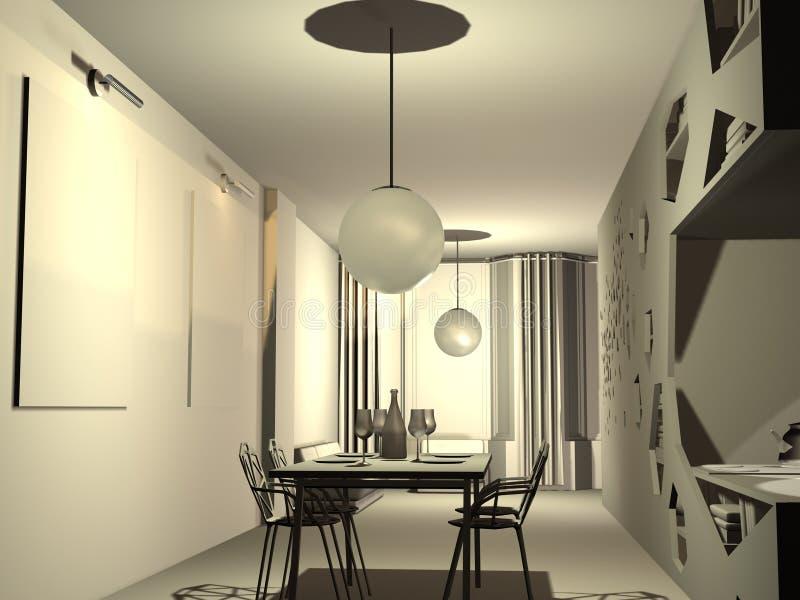 Download 3D flat stock illustration. Image of room, sitting, kitchen - 24283610