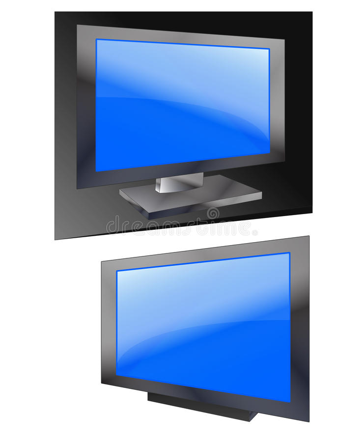 3D flat tv screen. Flat tv screen or computer monitor in 3D over dark and white background royalty free illustration