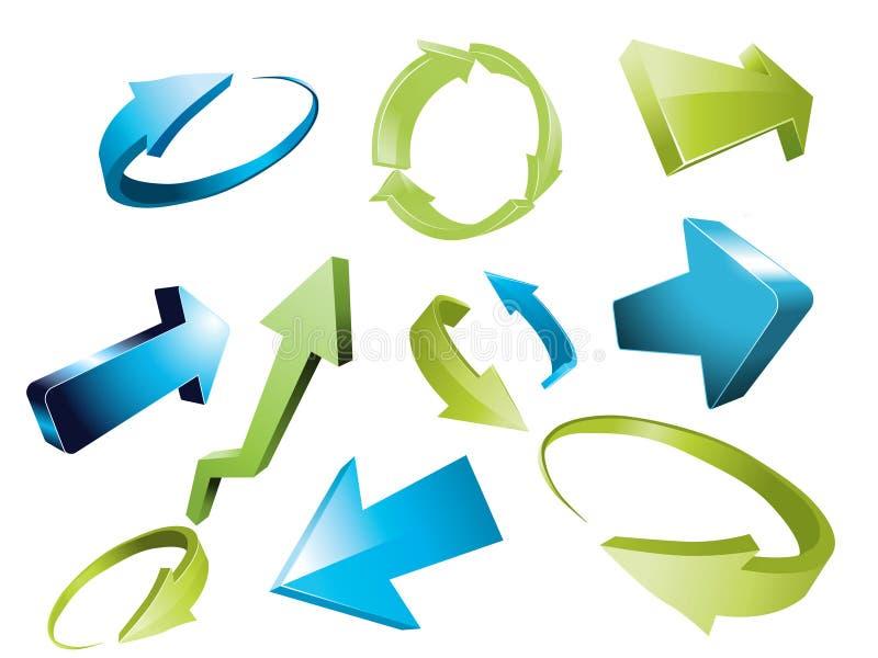 3d flechas, conjunto de elementos incompleto del diseño de la flecha 3d stock de ilustración
