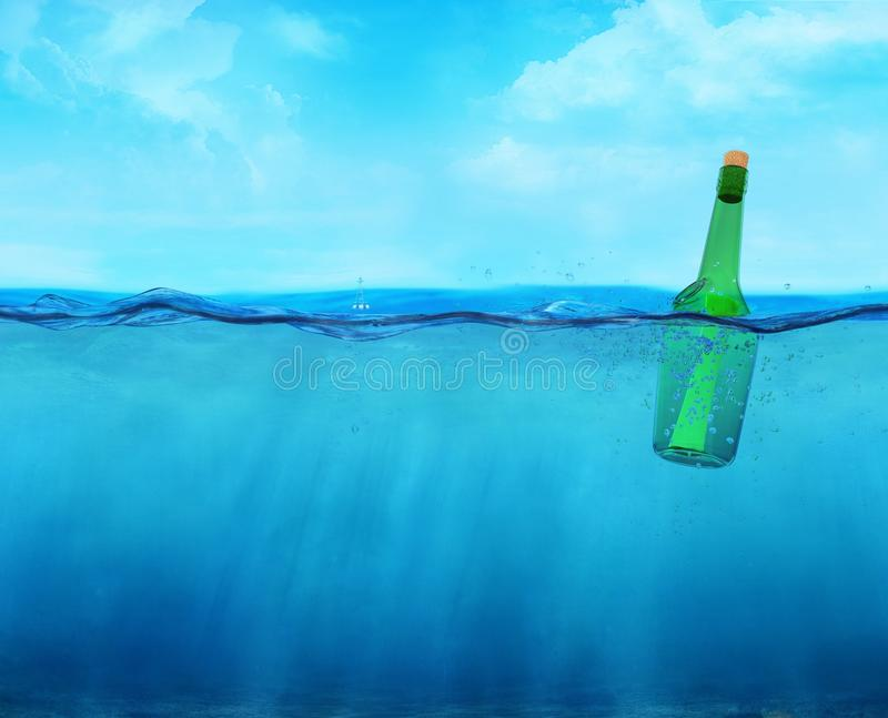 3d floating bottle with message on the ocean. Waterline view vector illustration