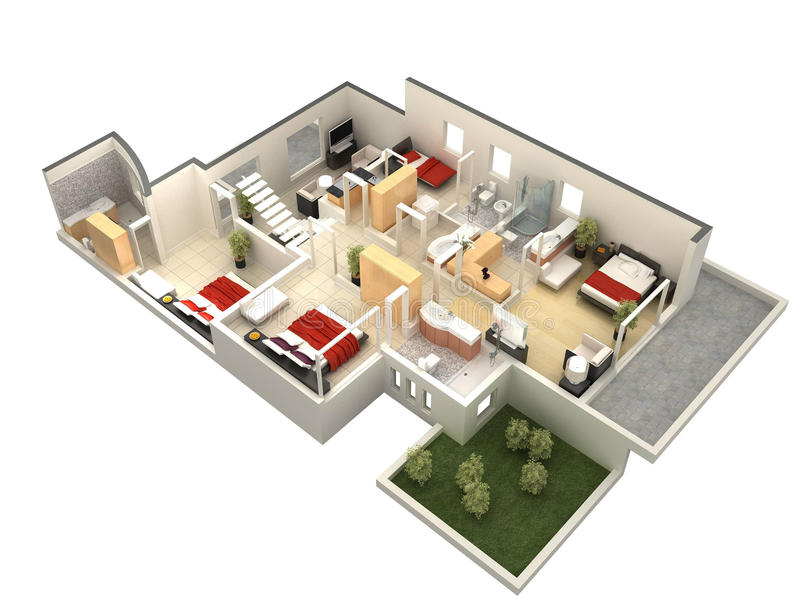 Download 3D floor plan stock illustration. Image of computer, apartment - 16679456