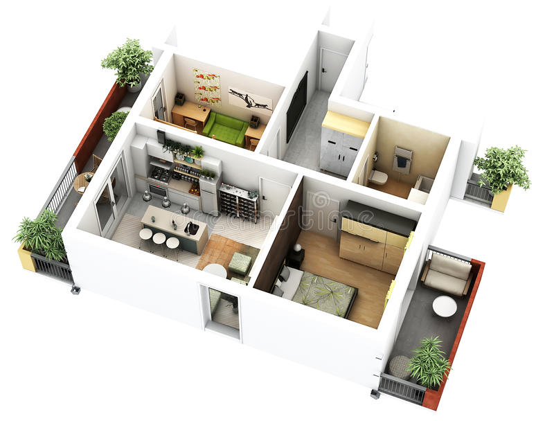 3d floor plan vector illustration