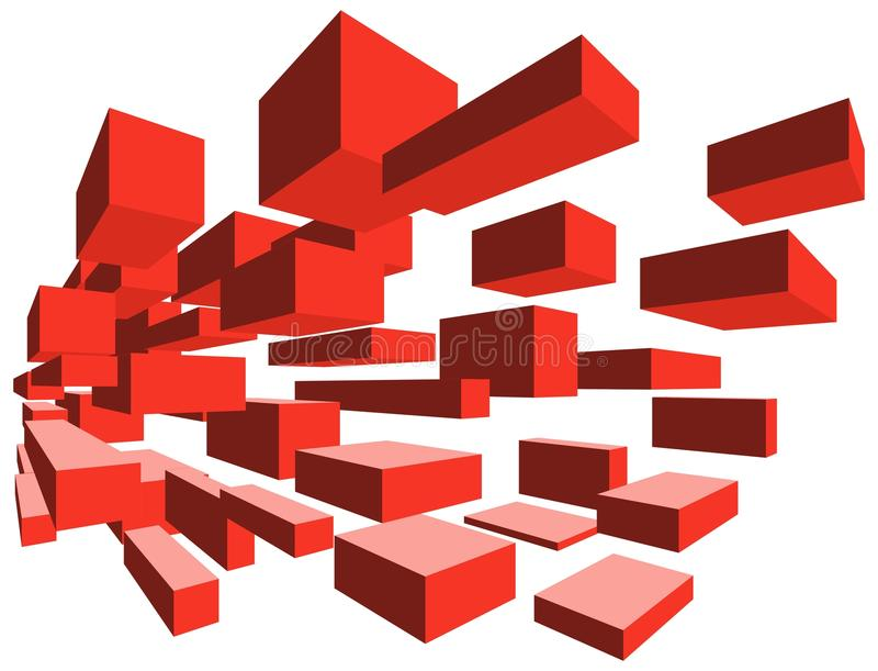 3D flying blocks red. 3D red flying blocks. The image can represent many concepts from the field of technology royalty free illustration