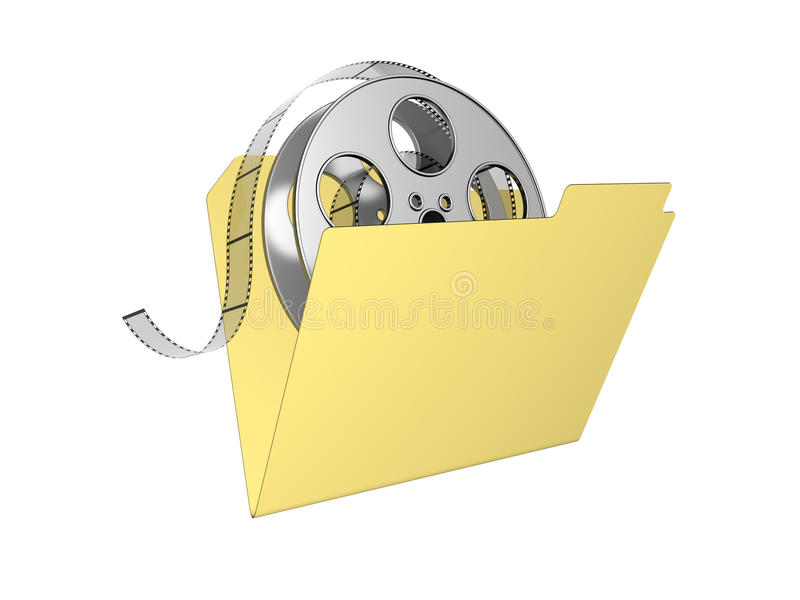 3d folder with film reel. Isolated on the white royalty free illustration