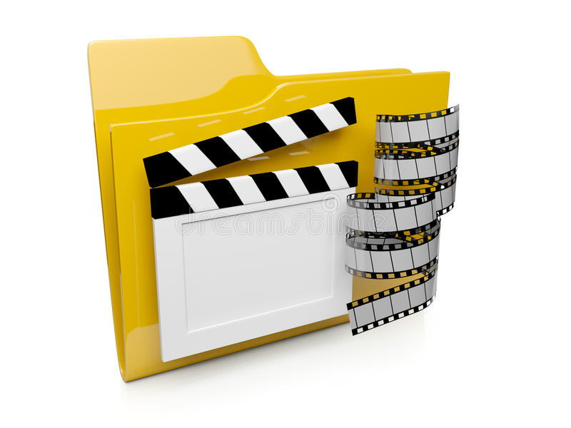 3d folder icon with the video. To the computer operating system stock illustration