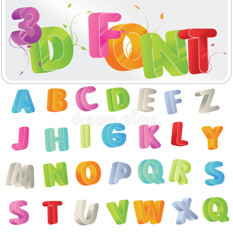 3D Font. Cute candy-colored 3d alphabet font vector illustration