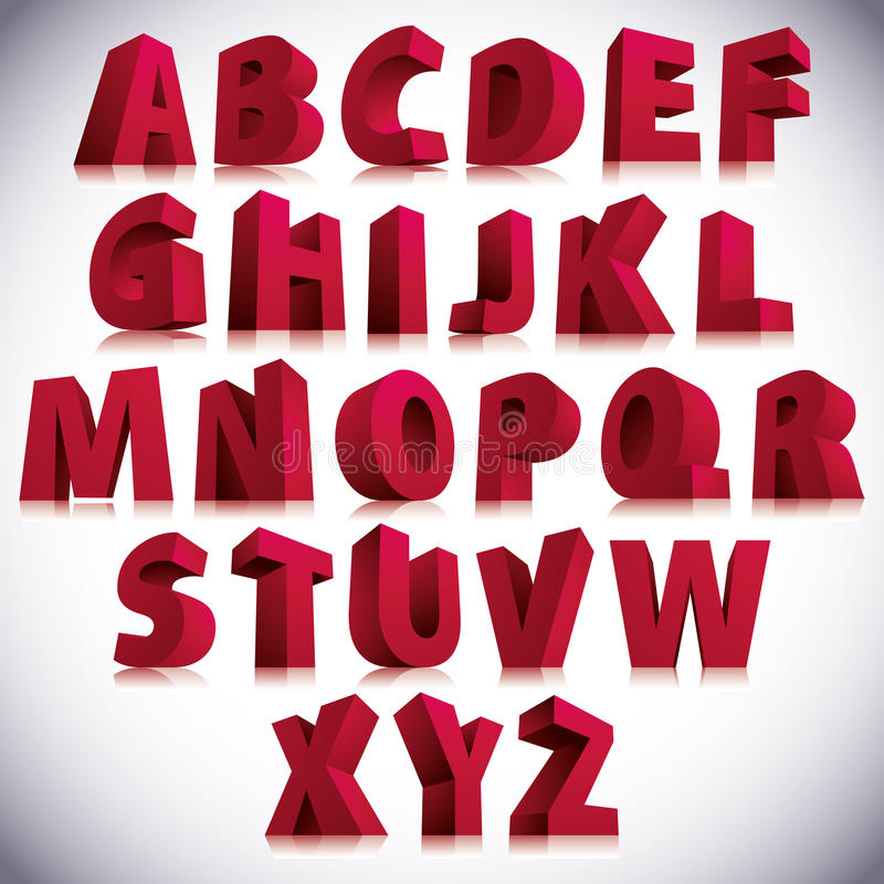 Free 3D Font, Big Red Letters Standing. Stock Image - 42223821