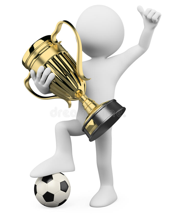 3D Football player - World champion stock illustration
