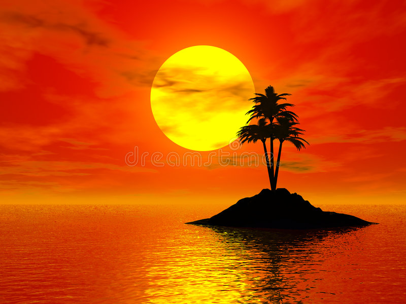 3d foto van de zonsondergang