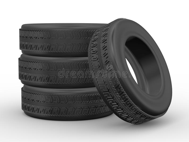 Download 3d four tyres stock illustration. Image of equipment - 27372334